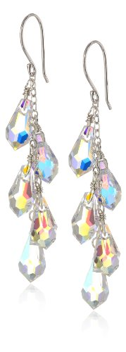 Sterling Silver Swarovski Elements Crystal Aurora Borealis Faceted Multi-Teardrop Earrings (Drop Earrings Cascade)