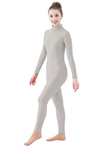 Ensnovo Womens Turtleneck Spandex Long Sleeve Front Zipper Footless Unitard LightGray, XL