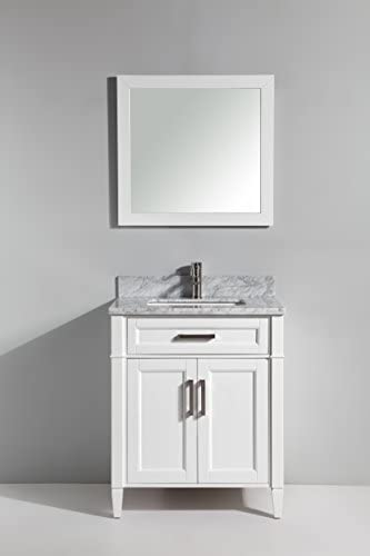 Vanity Art 30 Inch Single Sink Bathroom Vanity Set Carrara Marble Stone, Soft Closing Doors Undermount Rectangle Sinks with Free Mirror – VA2030-W