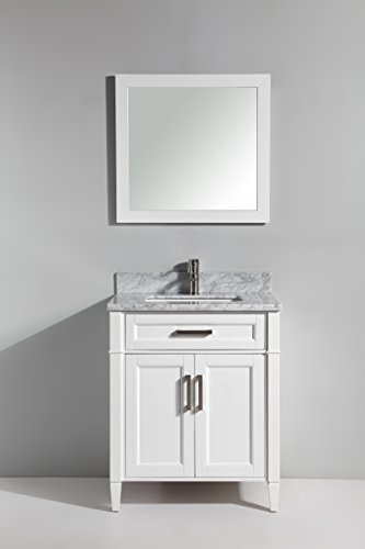 Vanity Art 30 Inch Single Sink Bathroom Vanity Set Carrara Marble Stone, Soft Closing Doors Undermount Rectangle Sinks with Free Mirror – VA2030-W