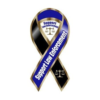 Amazon.com: Support Law Enforcement Blue/Black Large ...