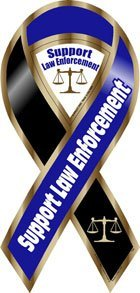 (Support Law Enforcement Blue/Black Large Ribbon Magnet)