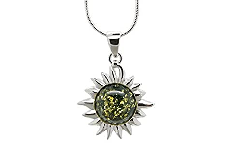 925 Sterling Silver Flaming Sun Pendant Necklace with Genuine Natural Baltic Green Amber. Chain (Unique Amber Pendant For Women)