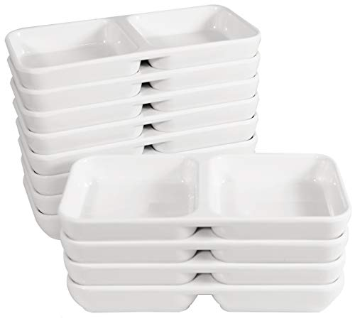 Melamine Stackable Twin Sauce Dish with Pan Scraper, 5.75 Inch by 2.75 Inch, Set of 12, White