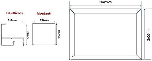 Pérgola de aluminio clásica para fijar al techo, de policarbonato ...