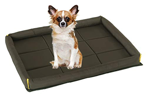 (Pet Padded Bolster Crate Bed with Waterproof Fabric for Small and Medium Dog and Cat (M, Coffee))