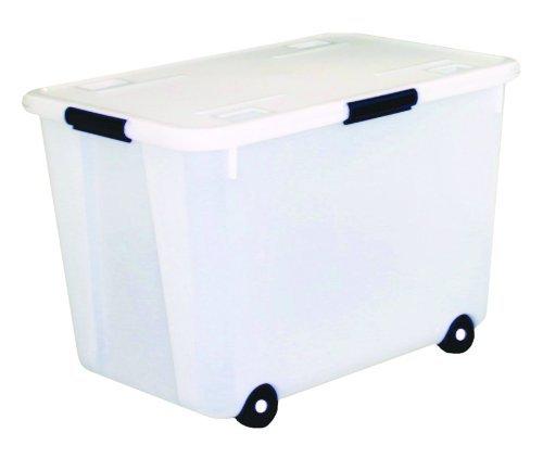4 X Advantus Rolling Storage Box with Snap Lid, 15-Gallon Size, Clear (34009) by ADVANTUS CORPORATION