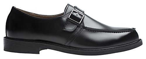 Agos Mens Single Monk Strap Oxford Casual Dress Shoes Nero