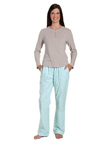 (Noble Mount Women's Cotton Flannel/Thermal Lounge Set - Dots Diva Aqua-Gray - Small)