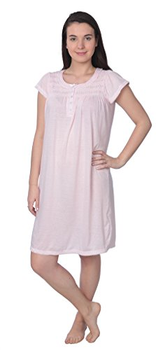 - Beverly Rock Women's Soft Short Sleeve Knit Nightgown NR126 Pink L