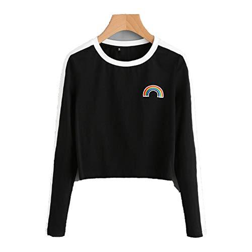 Rainbow Patch Cute T-Shirt Contrast Panel Crop Top Women Casual Color Block Tops Autumn Long -