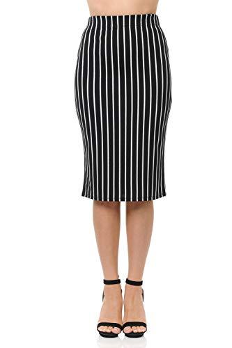 - SSOULM Women's Below Knee Stretchy Midi Pencil Skirt for Office Wear STRIPEIVORY M