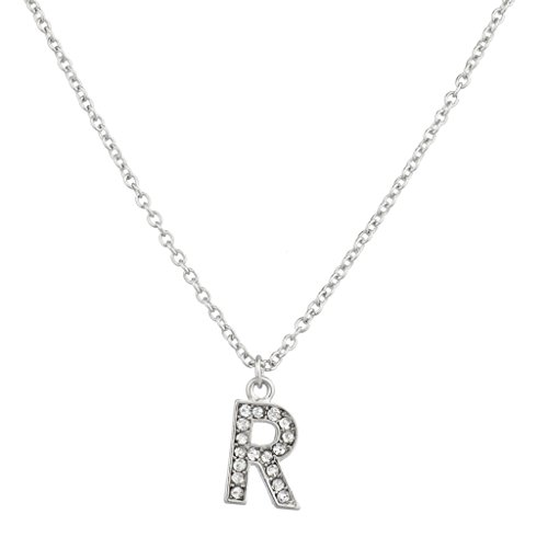 Lux Accessories Pave Crystal Initial R Necklace Block Letter.