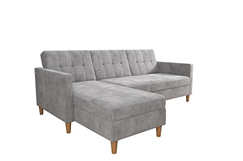 DHP Hartford Storage Sectional Futon with Interchangeable Chaise, Space-saving Design with Multi-position Back, Wooden Legs, Light Grey Chenille Back Storage Chaise