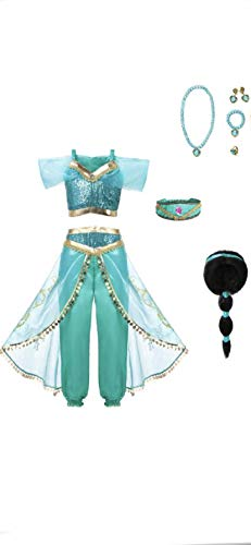 Arabian Princess Girls Costume Outfit, Wig and Jewelry Set, - Wig Costume Girl