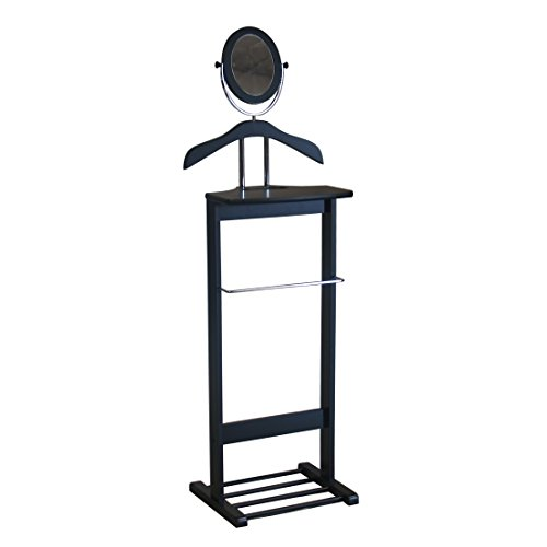 Black Swivel Mirror (Proman Products Trojan Valet with 360 Degrees Vertical and Horizontal Swivel Mirror and Shoe Rack, Black)