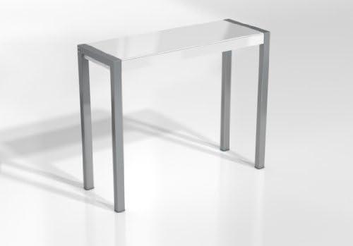 Encimera Cristal Blanco Brillo //Patas Aluminio Varios colores disponibles 110X40 cms, BARRA FIJA CUMBRE 105