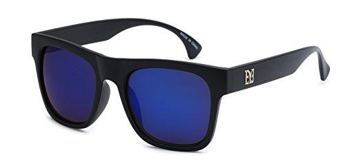 Eason Eyewear Men's Classic Horned Rim Sunglasses with Mirror Lens 50 mm Black/Blue (Lens Mirror 50)