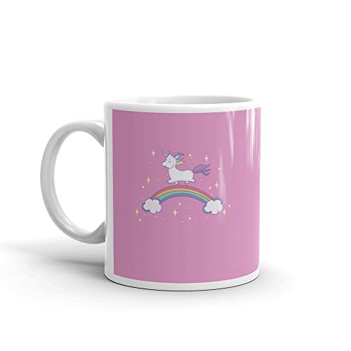 (Unicorn Baby Runing on The Rainbow Water Mug 11 Oz Ceramic)