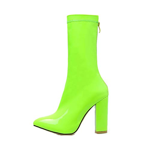Women's Ankle Booties Buckle Strap Side Zipper Chelsea Boots Fashion Comfortable Flat Shoes (US:6.0, Green)