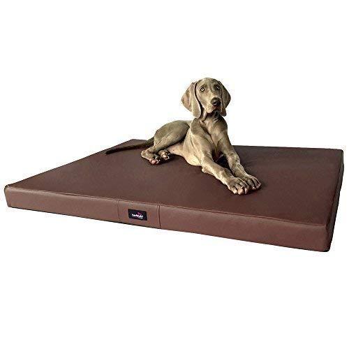 TIERLANDO Orthopaedic Dog Mattress Alice Visco Faux Leather Dog Mat 01 Brown, AL3 M 80 cm