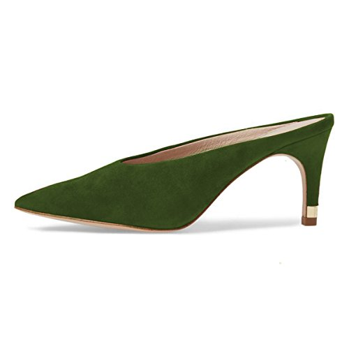 Sandals Pumps Shoes Casual On Heel Retro Slip Slide Women Green Pointed XYD Toe Clog Mid Mules OvTnq6