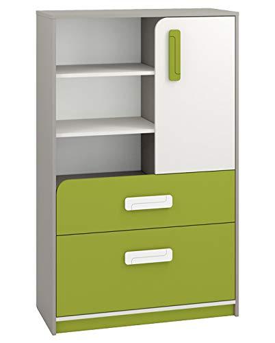Kinderzimmer - Kommode Renton 07, Farbe: Platingrau/Weiß/Grün - Abmessungen: 140 x 92 x 40 cm (H x B x T), mit 1 Tür, 2 Schubladen und 6 Fächern