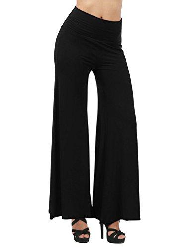 (SHUIANGRAN Women's Black Comfy Long Lounge Pants High Waist Palazzo Wide Leg Pants tag Asian 2XL)