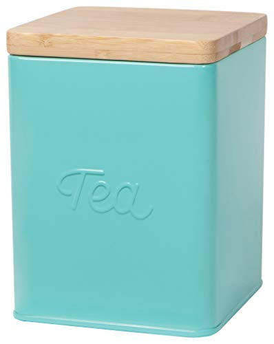 Tea Tin - Now Designs Square Tea Tin, Turquoise, Vintage Script Print