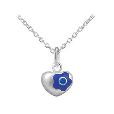 12-18 Inches Silver Simulated Birthstone Flower Heart Children And Teen Girls Necklace