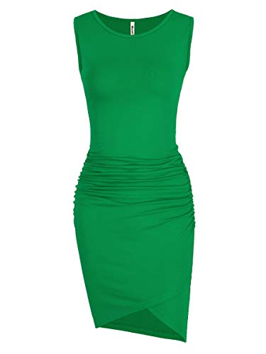 Missufe Women's Casual Ruched Bodycon Sundress Irregular Sheath T Shirt Dress (Sleeveless Green, Large) from Missufe