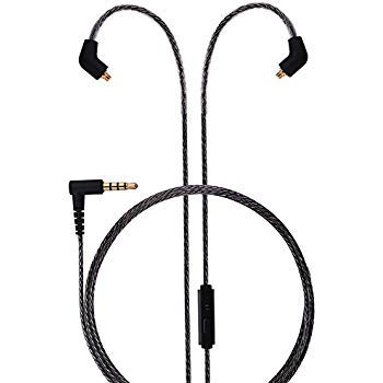 BASN MC100 MMCX Replacement Headphone Cable with Microphone and Remote, Upgrade Wire for Shure SE215 SE315 SE425 SE535, BASN Bsinger, UE900