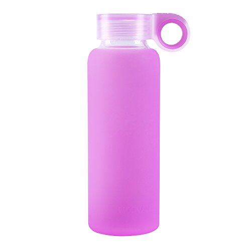 Nobvan Glass Water Bottle with Colorful Soft Silicone Sleeve Sports Camping Canteen Outdoors Creative Cup Children Couples Silicone Antiskid Kettle Glass (light purple, 450ml-15.2oz)