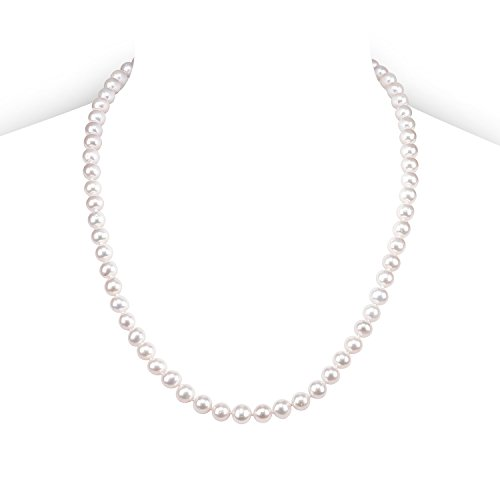 PAVOI Sterling Silver White Freshwater Cultured Pearl Necklace (20, 7mm)