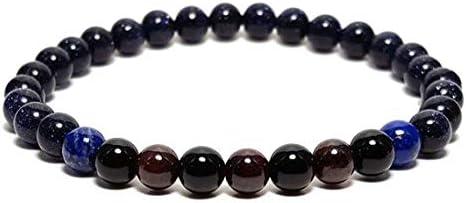 LOVEKUSH Galaxy Jewelry - Pulsera redonda de 6 mm con piedra de oro azul, ónix negro, granate y lapislázuli, lisa de 7 pulgadas para hombres, mujeres, GF, BF, adultos.