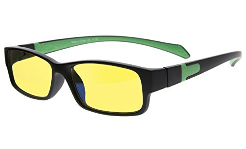 Eyekepper Yellow Tinted Lens 94% Blue Light Blocking Computer Glasses (Black/Green Arm (90 Green Lens)