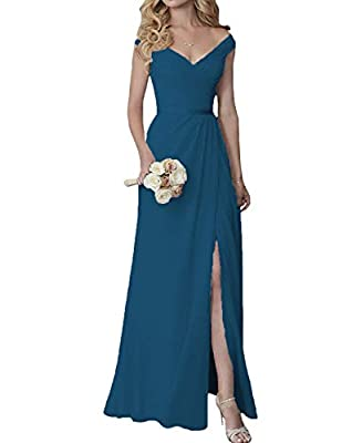 Cute V-Neck Bridesmaid Dresses with Slit Long Chiffon Formal Dress