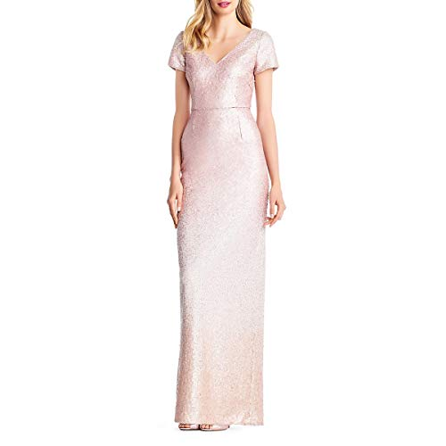 Adrianna Papell Womens Sequined Ombre Formal Dress Pink 14