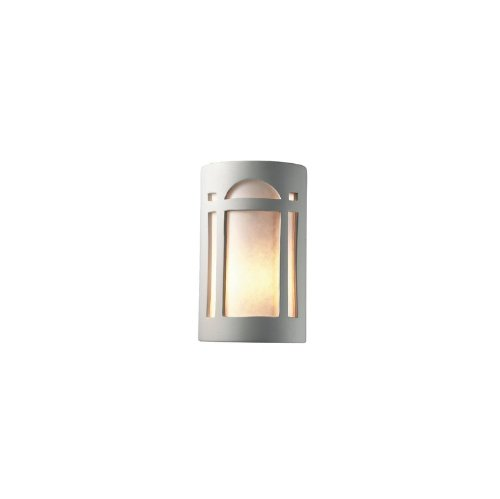 Justice Design CER-7385-BIS Small Arch Window Open Top and Bottom Sconce, Choose Finish: Bisque Finish (Unfinished), Shade Options: White Styrene Shade, Choose Lamping Option: Standard Lamping