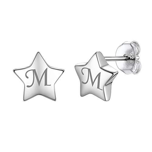 - Custom Engraved Star Earrings Personalized Hypoallergenic 925 Sterling Silver Stud Earrings for Women Girls Sensitive Ears