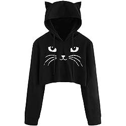 ASOBIMONO Sudadera Corta con Capucha y Orejas de Gato para niñas Adolescentes con Estampado de Orejas de Gato, Negro, S