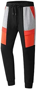 Mens Fleece Splicing Pockets Thickened Mid Waist Thermal Sport Jogger Pants