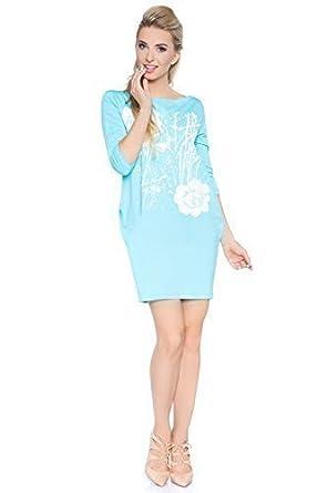futuro fashion Damen Elegant Kleid mit Blumenaufdruck U-Boot-Ausschnitt 3/4  Ärmel Cocktail Tulpe mit Taschen 6583 - Aqua, Einheitsgröße, ...