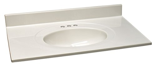Design House 551168 Marble Vanity Top/Single Bowl, White/White, 31-Inch by 22-Inch