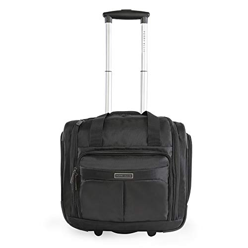 Price comparison product image Perry Ellis Men's Excess 9-Pocket Underseat Rolling Tote Carry-on Bag Travel,  Black,  One Size