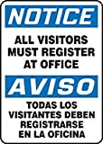 Accuform NOTICE ALL VISITORS MUST REGISTER AT OFFICE (BILINGUAL SPANISH) (SBMADC814VA)