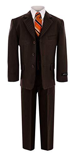 - Johnnie Lene Big Boy's Formal Dress Suit JL5014 (8, Pinstripe Brown)
