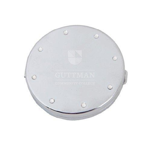 Guttman Silver Bling Compact Mirror 'Guttman Community College Striped Shield'