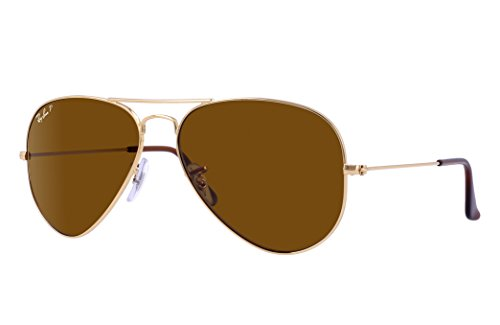 Ray-Ban RB3025 Aviator Sunglasses (62 mm, Gold Metal Frame/Polarized Brown Classic B-15 - Ray-ban Rb3025 Aviator 62