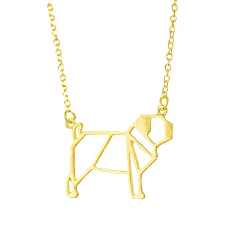 Altitude Boutique Pug Necklace, Dog Pendant Necklace, Origami Geometric Jewelry (Gold)